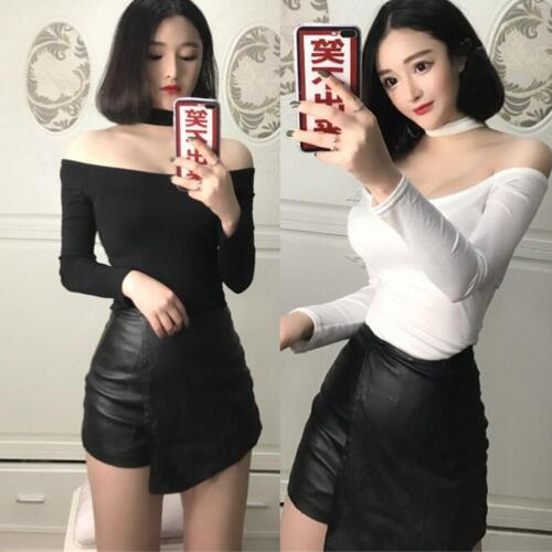 Frauen HOT Schulterfrei Crop Tops Langarm T-shirt Bluse Stretch Shirts Oberteile
