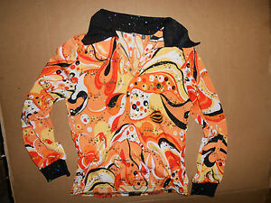 NWT Long Sleeve Orange 70\'s Style dance shirt open collar Silver ...