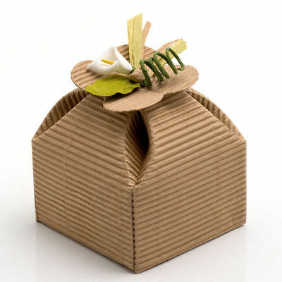 Natural DIY KRAFT CORRUGATED Wedding Rustic Favour Gift Box Shabby Chic Vintage