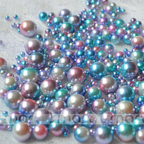 100pcs Blue Resin Round Imitation Pearl Loose Beads No Hole 3 4 5 6 8 10mm