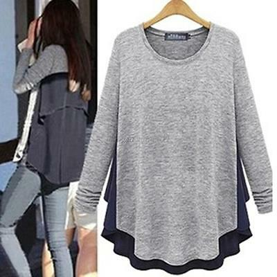 2015 Korean Women's Long Sleeve Loose T-shirts Casual Blouse Tops Shirt Gray Hot