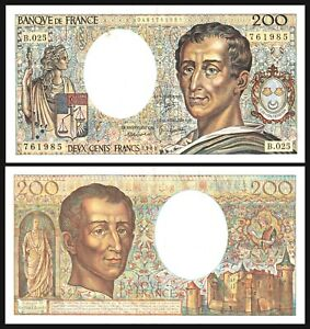 France, 200 francs, 1984, Pick 155 (155a), * Montesquieu * Banknote