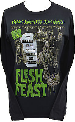 WOMENS HORROR T-SHIRT FLESH FEAST GREEN CLASSIC ZOMBIES B-MOVIE GORE S-2XL
