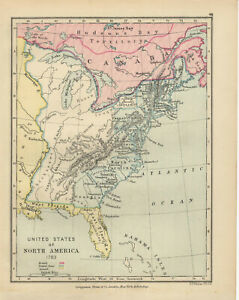 Details about Antique Print - Map - United States Of North America 1783