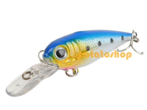 5g 70mm  Blue Bass Saltwater  Minnow Fishing Lure Hard Bait Wounded Trout Hook