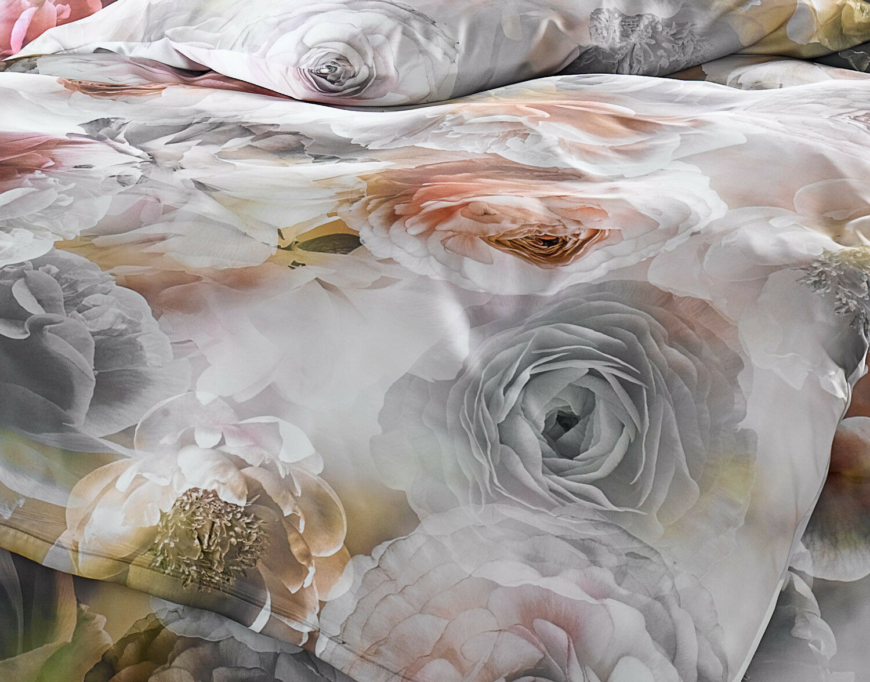 Edle Mako Satin Rosen Bettwäsche Grau Rosé 100 Baumwolle
