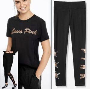 Victoria/'s Secret Pink Bling Campus Tee High Waist Legging Rose Gold Set L XL