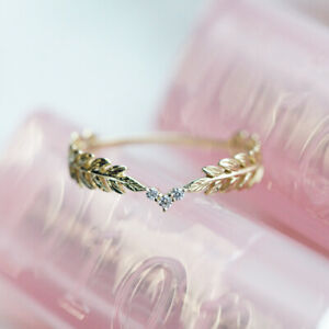 14K-Gold-Small-Fresh-Style-Spring-Leaves-Feather-Ring-Stack-Wearing-Tail-Ring