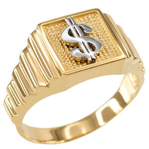 10k or 14k Two Tone Gold White CZ Dollar Sign Cash Mens Ring