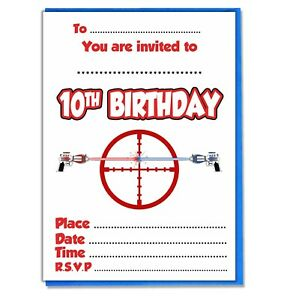 f33d8167bb8c Details about Kids Laser Tag Party Invites - Birthday Boys Girls - 20  Invitations & Envelopes