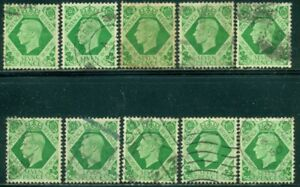 GREAT BRITAIN SG-471, SCOTT # 244, USED, 10 STAMPS, GREAT PRICE!