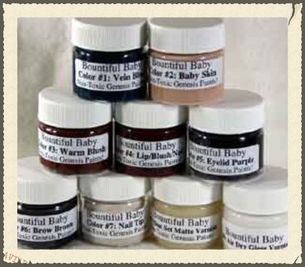 Genesis Heat Set Paints Set of 7 Flesh Colors for Reborn Doll Making 1//2 oz