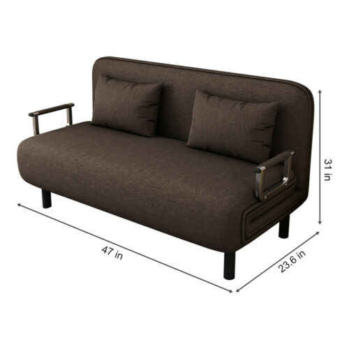 US Convertible Sofa Bed Folding Arm Chair Sleeper Leisure Recliner Lounge Couch