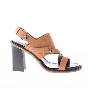 TODS scarpe donna Sandalo in camoscio marrone con fasce incrociate e fibbia