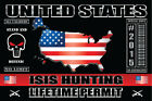 ISIS Hunting Permit vinyl DECAL STICKER USA MILITARY MUSLIM TERRORIST GUN