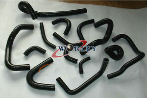 Nissan-Skyline-GTR-R33-R34-RB26DET-Silicone-Radiator-Heater-Hose-Kit-Black