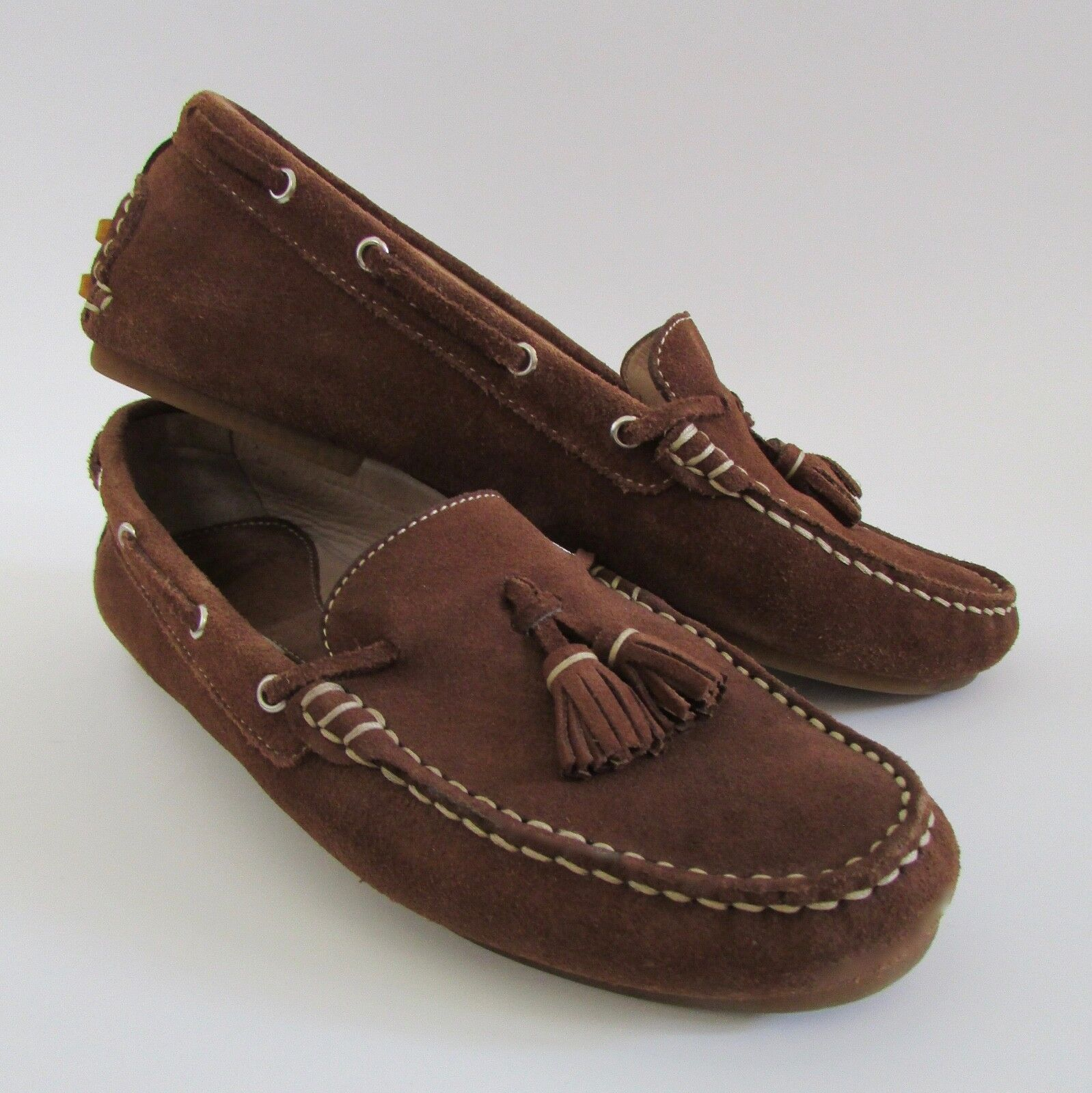 Robert Clergerie France Suede Tassled Driving Loafers Mocs Sz 5.5