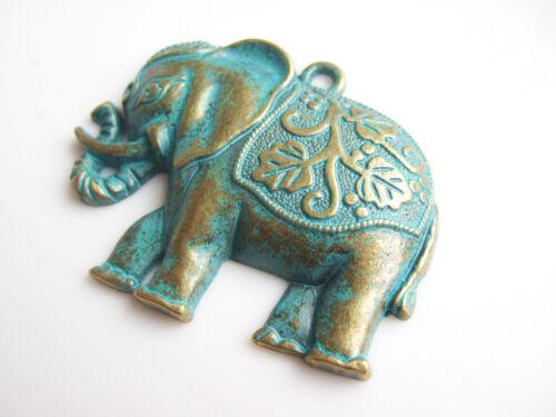 2pcs Bronze Patina Large Thailand Elephant Charms Pendant DIY Jewelry Findings