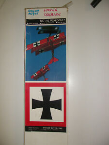 Vintage-034-FOKKER-TRIPLANE-034-By-Squadron-Kites-Kit-New-in-Box-4-039-Wingspan-Complete