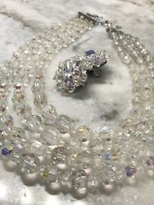Antique-4-Strand-Faceted-Aurora-Borealis-Crystal-Earring-amp-Necklace-Jewelry-Set
