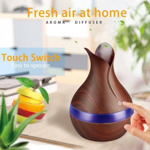 300mL 7Color LED Wood Aroma Essential Oil Diffuser Air Humidifier Aromatherapy