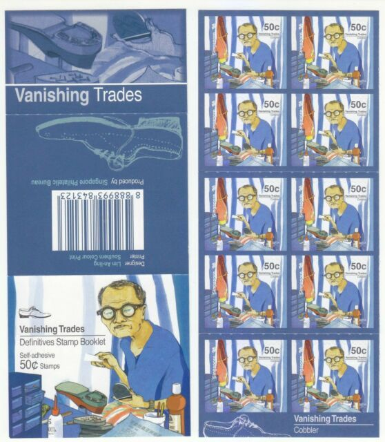 SINGAPORE 2013 VANISHING TRADES COBBLER $0.50 1ST PRINT 2013A BOOKLET 10 STAMPS