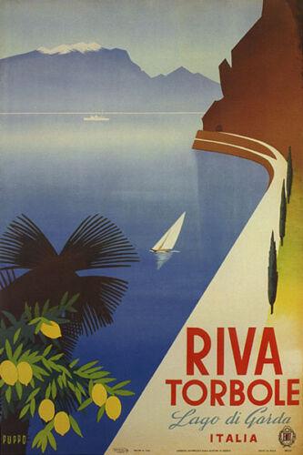 LAGO DI GARDA RIVA TORBOLE SAILBOAT ITALIAN LAKE TRAVEL VINTAGE POSTER REPRO