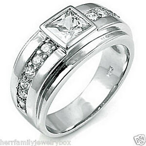 .925 Sterling Silver Square cut Mens Wedding Ring Wide Band size 7,8,9,10,11,12