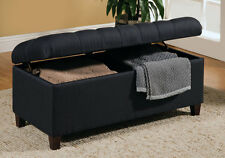 Delightful Accent Upholstered Tufted Seat Storage Bench Ottoman Navy Blue Linen Like  Fabric
