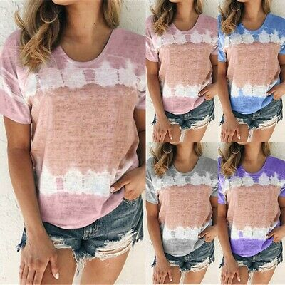 Plus Size Women Gradient Short Sleeve Loose T Shirt Ladies Summer Tops Blouse UK