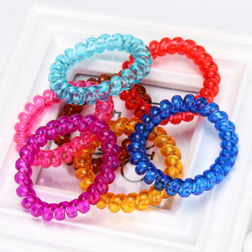 5Pcs Spiral Slinky Elastic Rubber Tie Wire Coil Hair Bands Rope Ponytail.