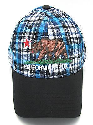 CALIFORNIA REPUBLIC Ball Cap Hat Retro CALI BEAR FLAG NWT Caps Hats Red Plaid