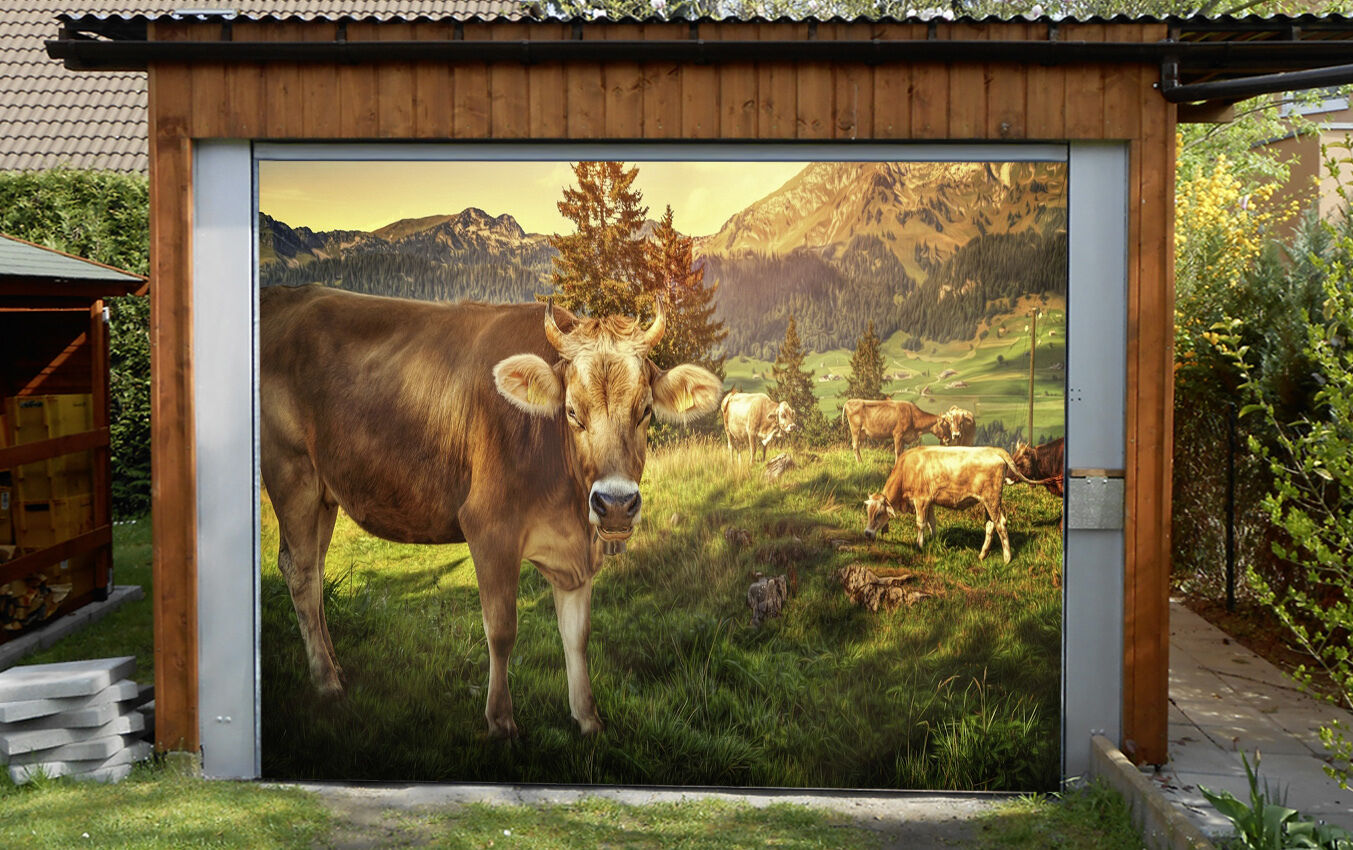 3D Mucca Pprato 76 Garage Porta Stampe Parete Decorazione Murale AJ WALLPAPER IT