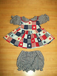 """FLOWER CALICO DRESS PANTY for 16-18/"""" CPK Cabbage Patch Kids ROYAL BLUE GINGHAM"""
