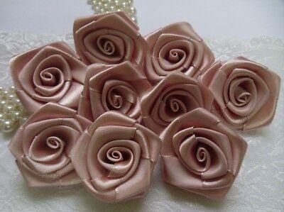 """1.5/"""" Light Ivory Antique White Lots of 24pcs-R0019I Satin Ribbon Roses"""