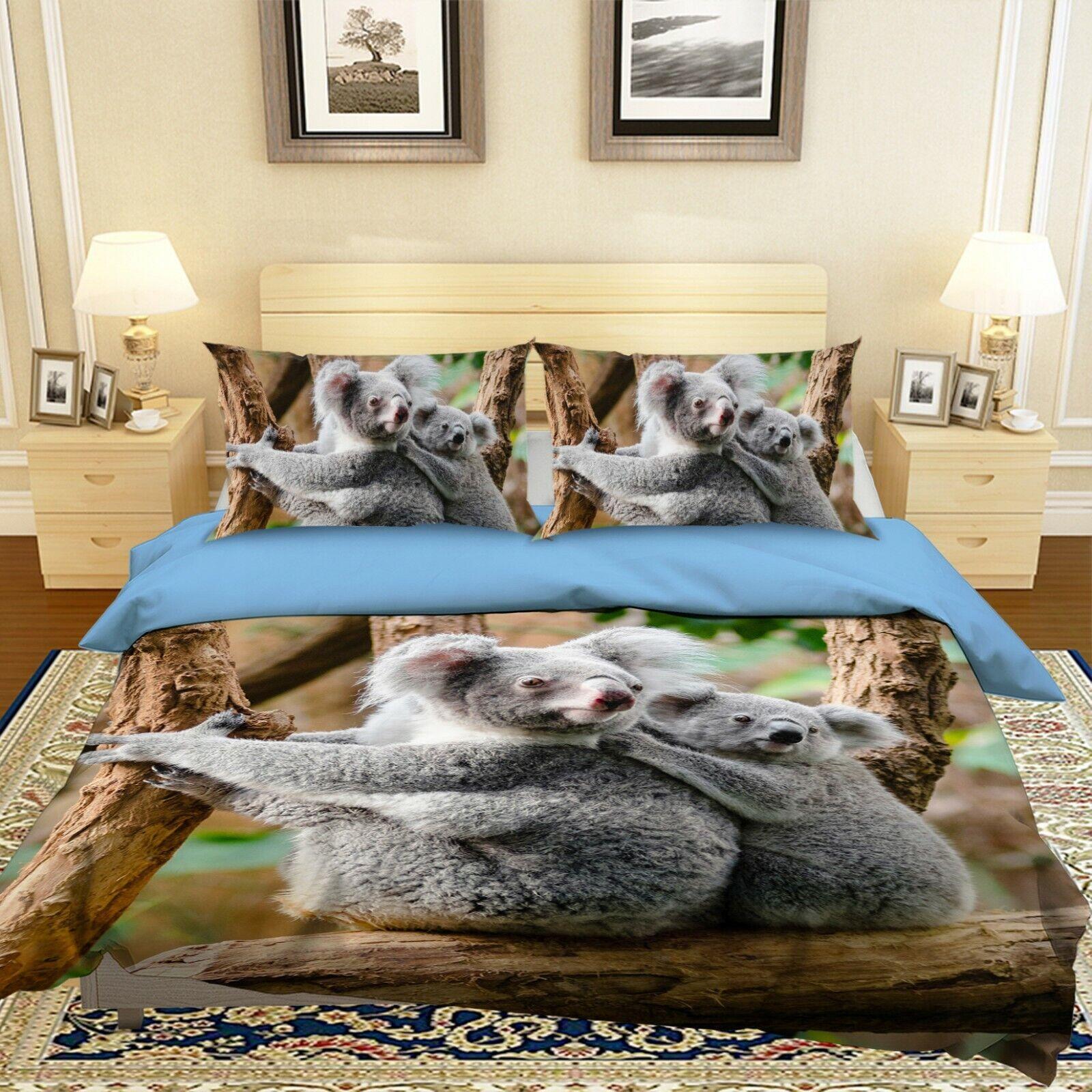 3D Cute Koalas N21 Animal Bed Pillowcases Quilt Duvet Cover Queen King Amy