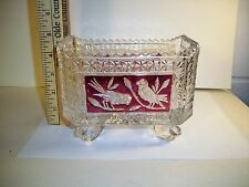 Hofbauer Lead Crystal Ruby Red Byrde Collection Rectangle Footed Dish