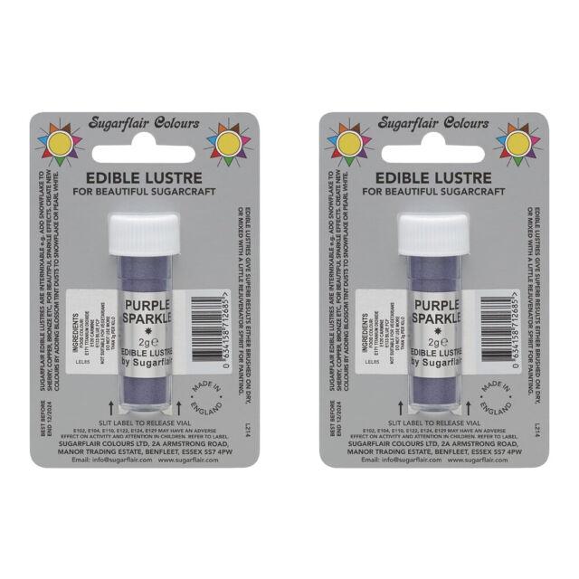 2 x Sugarflair Edible Purple Sparkle Lustre Dust Powder Food Cake Icing Colour