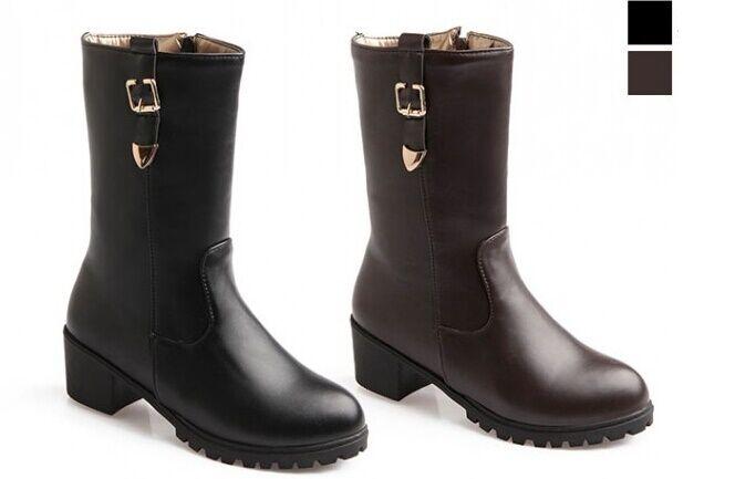 Stiefeletten Stiefel Schuhe Militärschuhe Frau Absatz 5 Leder Kunststoff