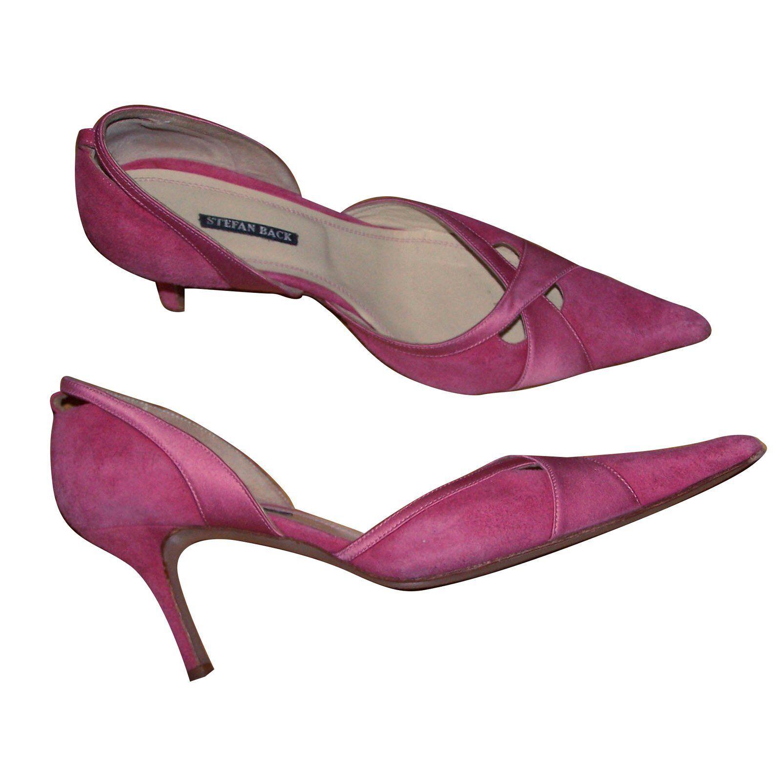 Cómodo y bien parecido � Superbes escarpins rose cuir et daim - Stefan Back - T37 �