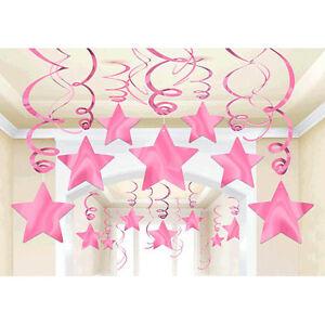 30-Pink-Shooting-Star-Swirl-Decoration-Graduation-Wedding-Birthday-Party-Supply