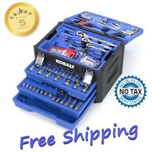 and Metric Polished Chrome Mechanic/'s Tool Set SAE Kobalt 227-Piece Standard