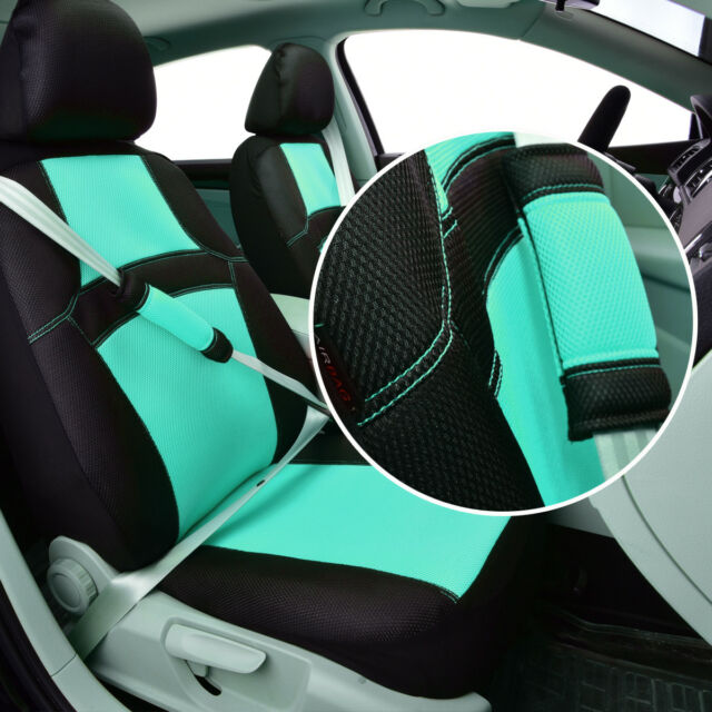 Universal 2 Front Car Seat Covers Colorful Mint Blue Breathable Mesh For Suv Van