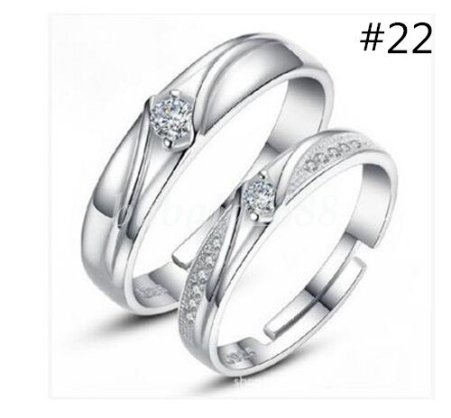 Plated Silver Forever Love Zircon Opening Ring Wedding Band Adjustable 29 Styles