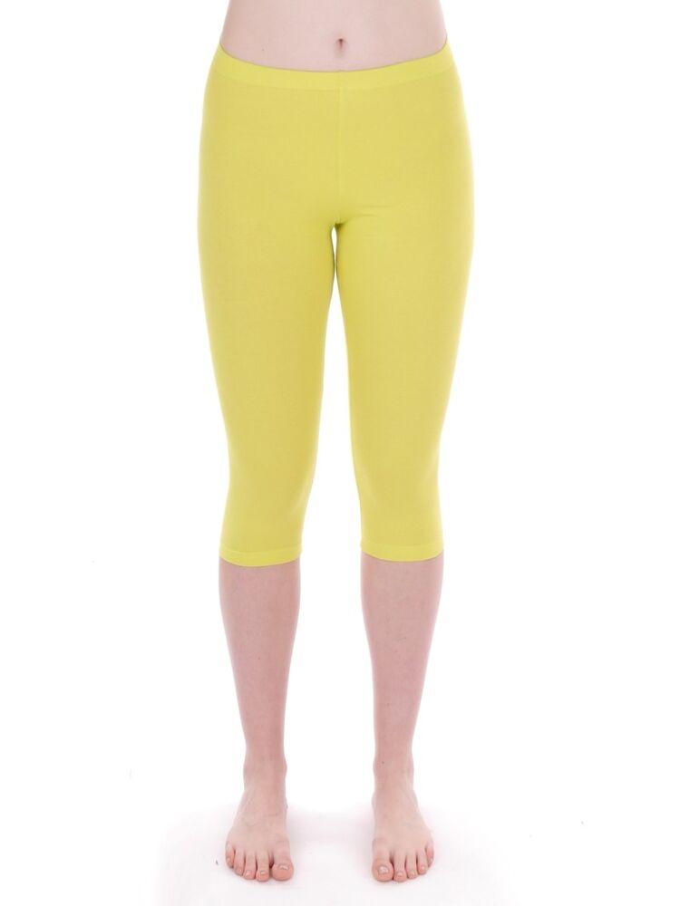 Cmp Pantalon Capri Leggings De Survêtement Jaune Étirer Bande En Caoutchouc Mode