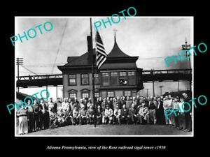 OLD-LARGE-HISTORIC-PHOTO-OF-ALTOONA-PENNSYLVANIA-THE-ROSE-RAILROAD-TOWER-c1950