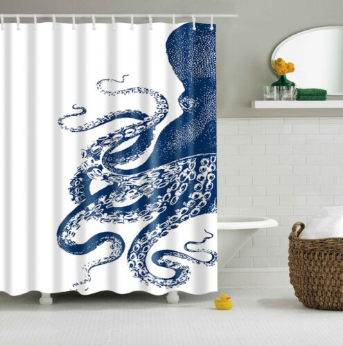 "Octopus Kraken Pattern Custom Shower Curtain Polyester Fabric 60/""x71/"" 2 Colors"