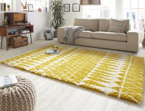 4ec0a74c77957e Das Bild wird geladen Design-Velours-Teppich-Hochflor-Inspire-Gelb-Creme -gemustert-