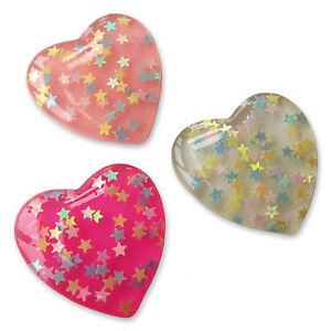 Large Glitter Star Love Heart Resin Flatback Cabochons Embellishments Kawaii
