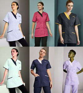 Womens-Dress-Tunic-Nurse-Nurses-Uniform-Medical-Dental-Healthcare-Asymmetrical